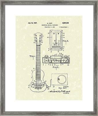 Electric Guitar 1937 Patent Art Framed Print by Prior Art Design