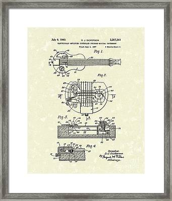 Electric Guitar 1940 Patent Art Framed Print by Prior Art Design
