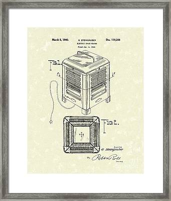 Electric Heater 1940 Patent Art Framed Print by Prior Art Design