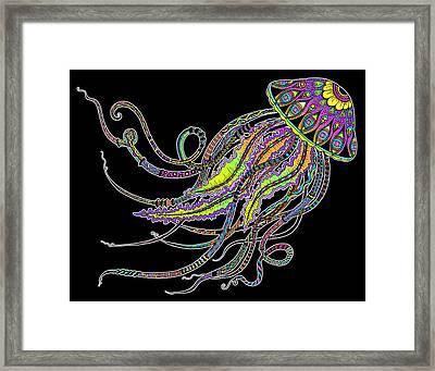 Electric Jellyfish On Black Framed Print by Tammy Wetzel