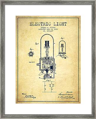 Electric Light Patent From 1880 - Vintage Framed Print by Aged Pixel