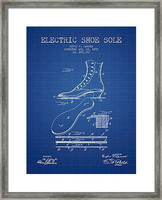 Electric Shoe Sole Patent From 1893 - Blueprint Framed Print by Aged Pixel