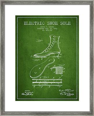 Electric Shoe Sole Patent From 1893 - Green Framed Print by Aged Pixel