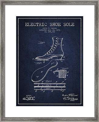 Electric Shoe Sole Patent From 1893 - Navy Blue Framed Print by Aged Pixel