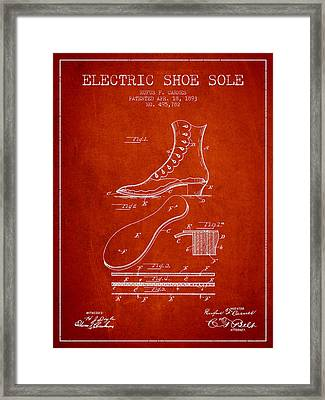 Electric Shoe Sole Patent From 1893 - Red Framed Print by Aged Pixel