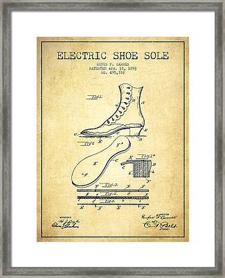 Electric Shoe Sole Patent From 1893 - Vintage Framed Print by Aged Pixel