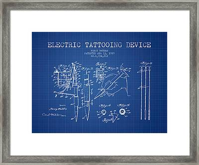 Electric Tattooing Device Patent From 1929 - Blueprint Framed Print by Aged Pixel