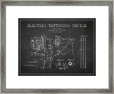 Electric Tattooing Device Patent From 1929 - Charcoal Framed Print by Aged Pixel