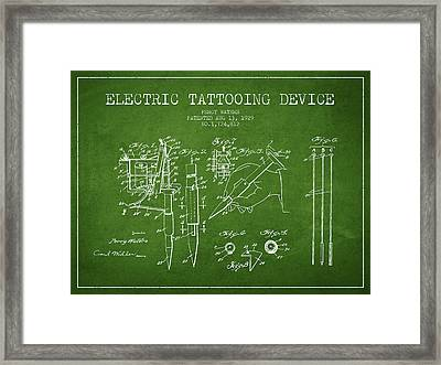 Electric Tattooing Device Patent From 1929 - Green Framed Print by Aged Pixel