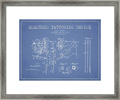Electric Tattooing Device Patent From 1929 - Light Blue Framed Print by Aged Pixel