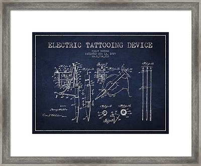 Electric Tattooing Device Patent From 1929 - Navy Blue Framed Print by Aged Pixel