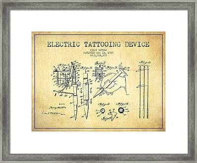 Electric Tattooing Device Patent From 1929 - Vintage Framed Print by Aged Pixel