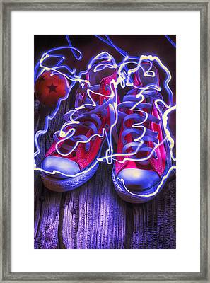 Electric Tennis Shoes  Framed Print by Garry Gay