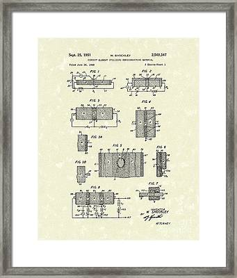 Electrical Circuit 1951 Patent Art Framed Print by Prior Art Design