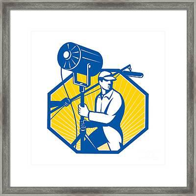 Electrical Lighting Technician Crew Spotlight Framed Print by Aloysius Patrimonio