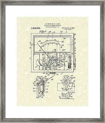 Electrical Meter 1919 Patent Art Framed Print by Prior Art Design