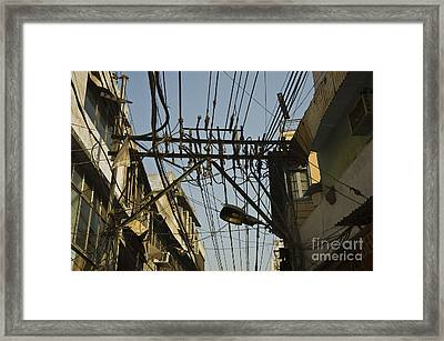 Electrical Wires In Old Delhi Framed Print by John Shaw