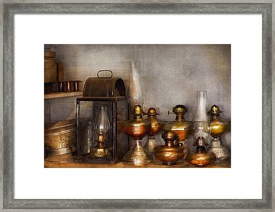 Electrician - A Collection Of Oil Lanterns  Framed Print by Mike Savad