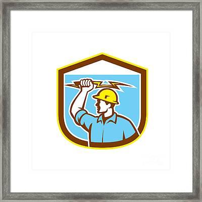 Electrician Holding Lightning Bolt Side Shield Framed Print by Aloysius Patrimonio