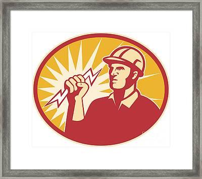 Electrician Power Line Worker Lightning Bolt Framed Print by Aloysius Patrimonio