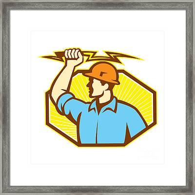 Electrician Wielding Lightning Bolt Framed Print by Aloysius Patrimonio