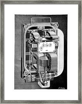 Electricity Meter Framed Print by Science Photo Library
