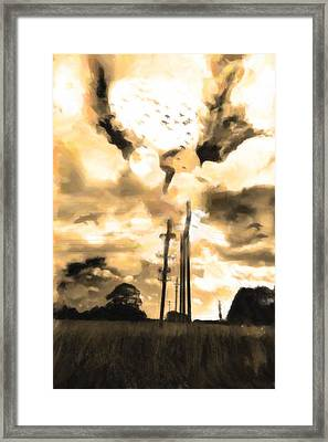 Electricity Poles Framed Print by Toppart Sweden