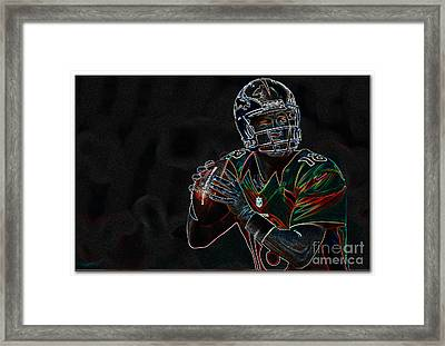 Electrifying Peyton Manning Framed Print by Marvin Blaine