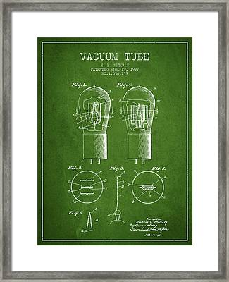 Electrode Vacuum Tube Patent From 1927 - Green Framed Print by Aged Pixel