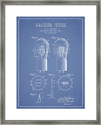 Electrode Vacuum Tube Patent From 1927 - Light Blue Framed Print by Aged Pixel