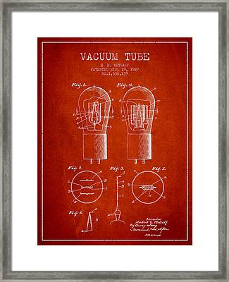 Electrode Vacuum Tube Patent From 1927 - Red Framed Print by Aged Pixel