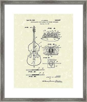 Electromagnetic Pickup 1960 Patent Art Framed Print by Prior Art Design
