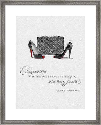Elegance Never Fades Black And White Framed Print by Rebecca Jenkins