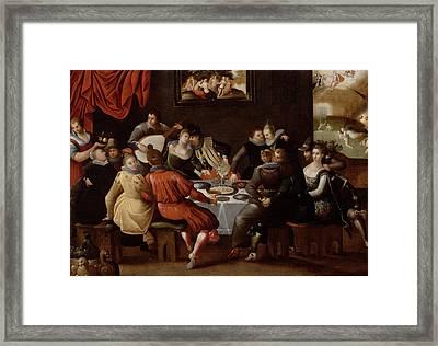 Elegant Figures Feasting And Disporting Framed Print by Hieronymus II Francken