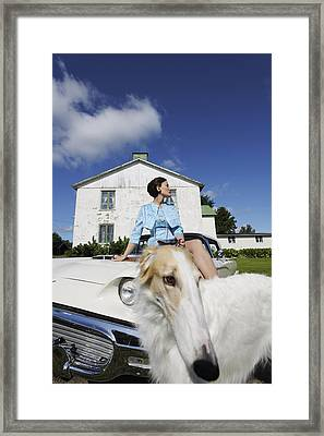Elegant Woman And Borzoi Dog Framed Print by Christian Lagereek