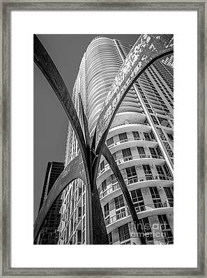 Element Of Duenos Do Los Estrellas Statue With Miami Downtown In Background - Black And White Framed Print by Ian Monk