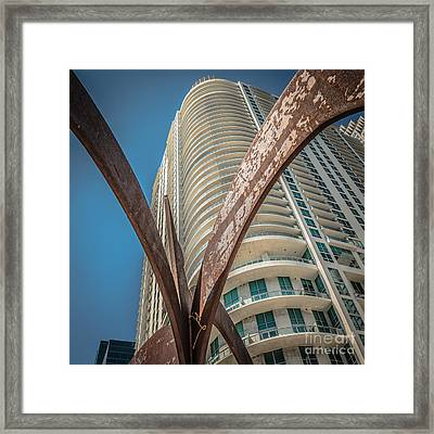 Element Of Duenos Do Los Estrellas Statue With Miami Downtown In Background - Square Crop Framed Print by Ian Monk