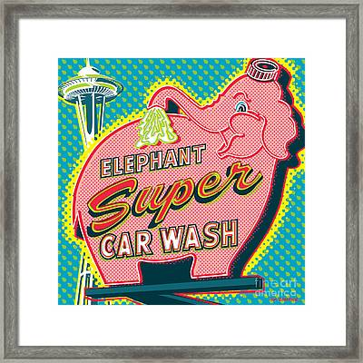 Elephant Car Wash And Space Needle - Seattle Framed Print by Jim Zahniser
