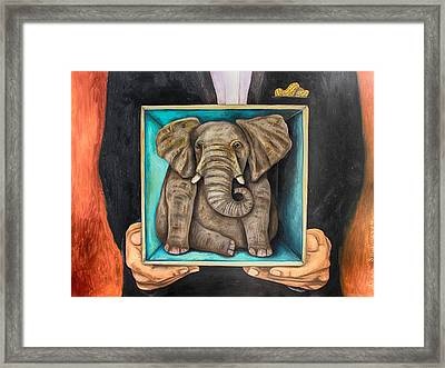 Elephant In A Box Edit 2 Framed Print by Leah Saulnier The Painting Maniac