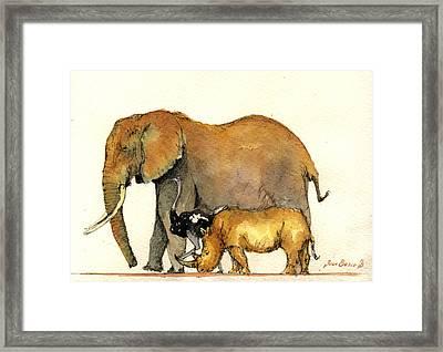 Elephant Ostrich And Rhino Framed Print by Juan  Bosco
