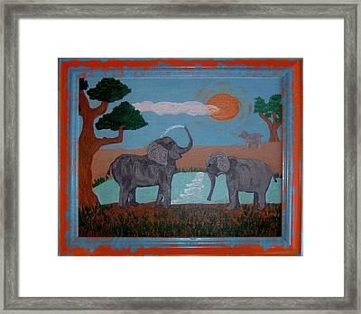 Elephant Paradise  Framed Print by Yvonne  Kroupa