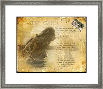 Elephant Postcard Framed Print by Nichon Thorstrom