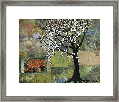 Elephant Under A Tree Framed Print by Blenda Studio