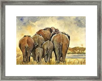 Elephants Herd Framed Print by Juan  Bosco