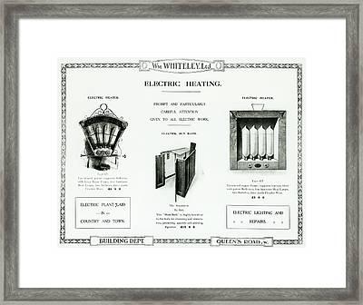 Eletric Heating, Wm Whiteley Ltd Framed Print by English School