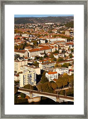 Elevated View Of A Town, Cahors, Lot Framed Print by Panoramic Images