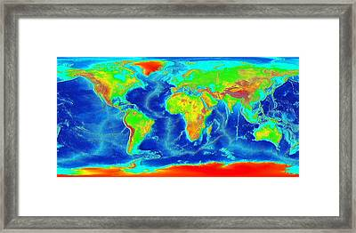 Elevation Map Of The World Framed Print by Sebastian Musial