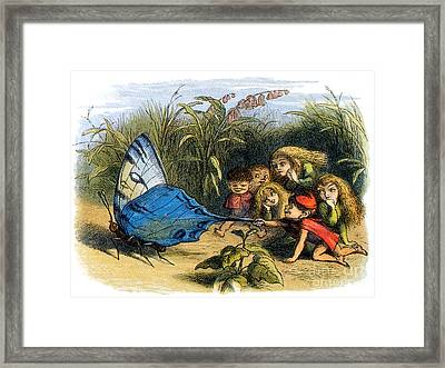 Elf Teasing A Butterfly, Legendary Framed Print by Photo Researchers