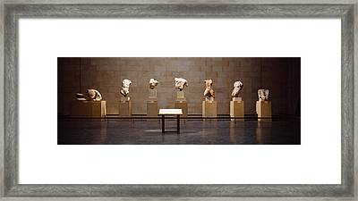 Elgin Marbles Display In A Museum Framed Print by Panoramic Images
