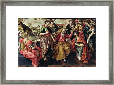 Eliezer Asking For Rebecca To Marry Isaac, 1562 Oil On Panel Framed Print by Maarten de Vos